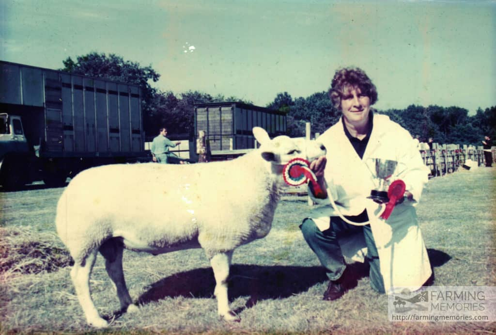 Christine Broom with prize sheep at Agricultural Show