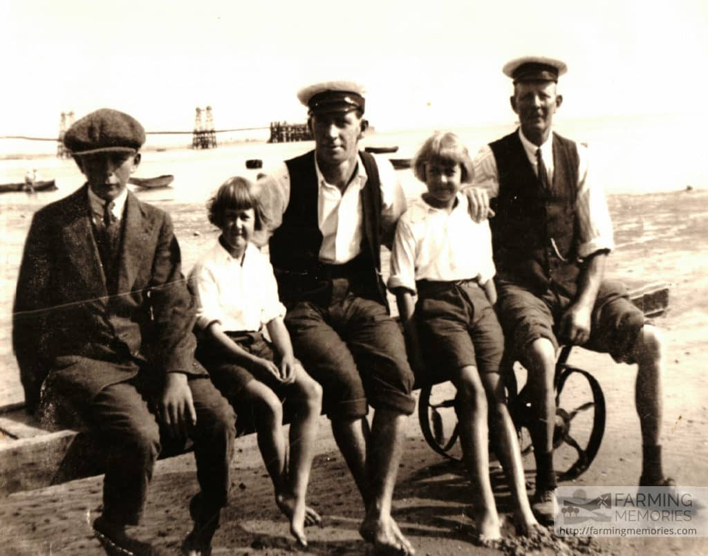 Bert Cooper (left) Charles Cooper (David Cooper's Grandad) pier in background, sitting on a launching rig