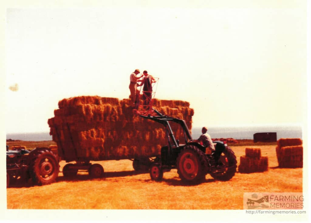 The loader Geoff Phillips made for baling