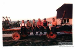 Geoff Phillips and gang (local men) on the trailer haymaking time