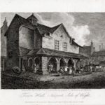An engraving of the Town Hall at Newport with market activities taking place 1816