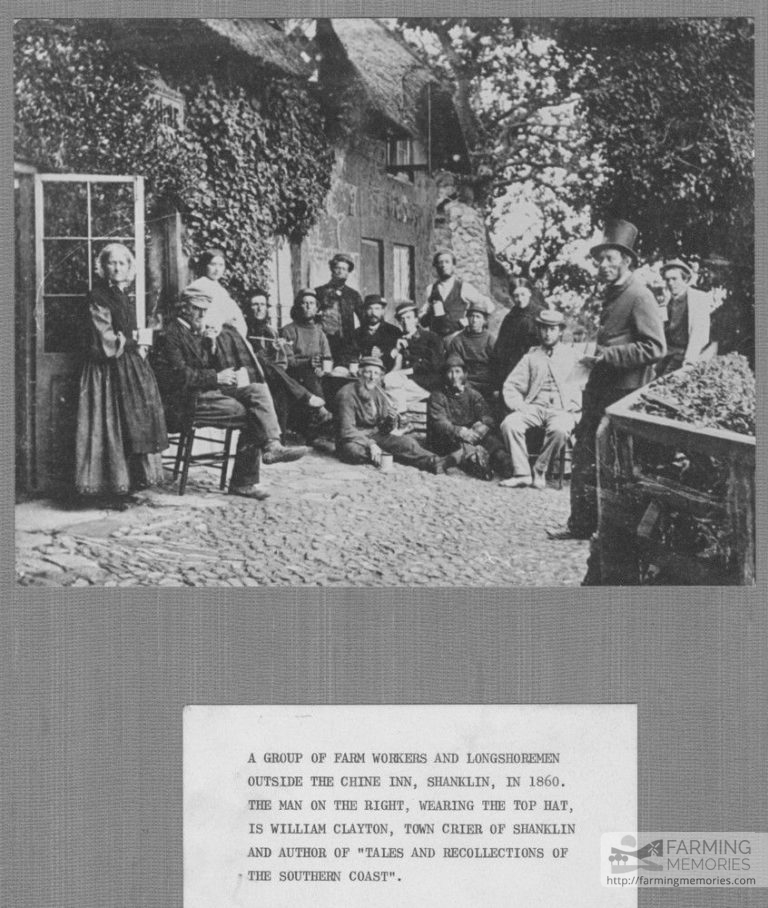 Black and white photograph of a group of farm workers and longshoremen outside the Chine Inn, Shanklin 1860