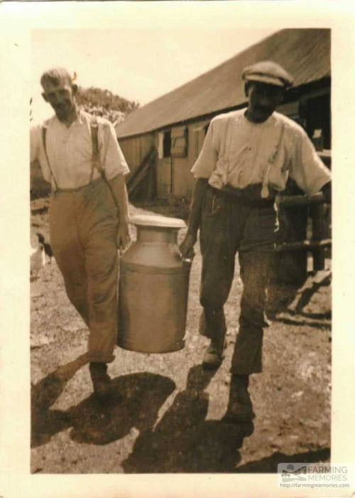 Arthur Mew's Father with milk churn at Mill Bank Farm