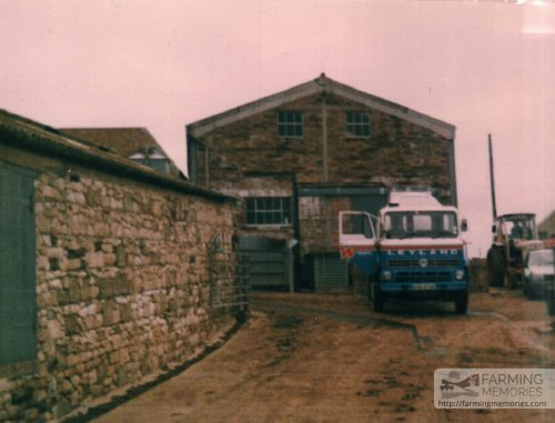 Milk lorry and parlour milking in farmyard