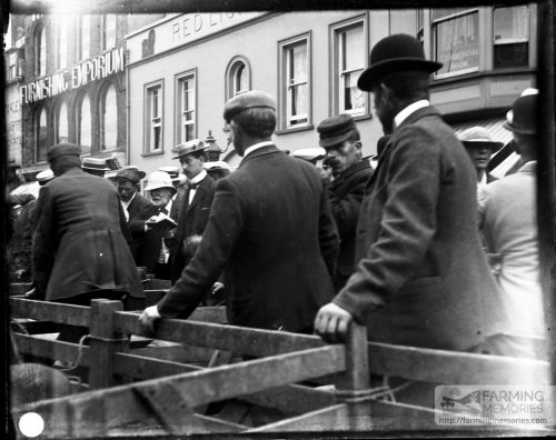 Glass negative of market at St. James Square, Newport