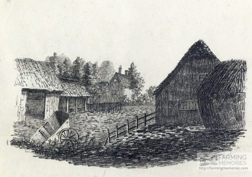 A pencil drawing of the farm house and land at Watchingwell 1833 by H. R. Pitman