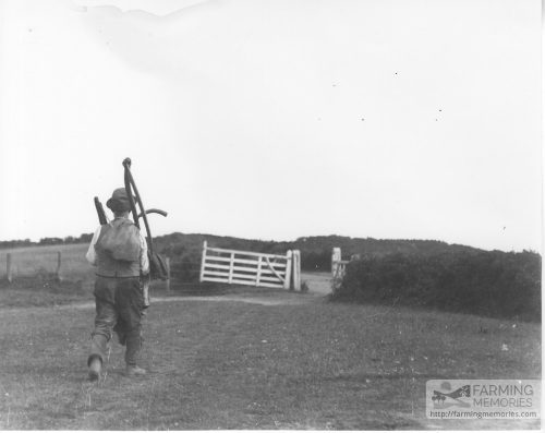 Black and white photograph showing a farm worker walking carrying his scythe and other tools